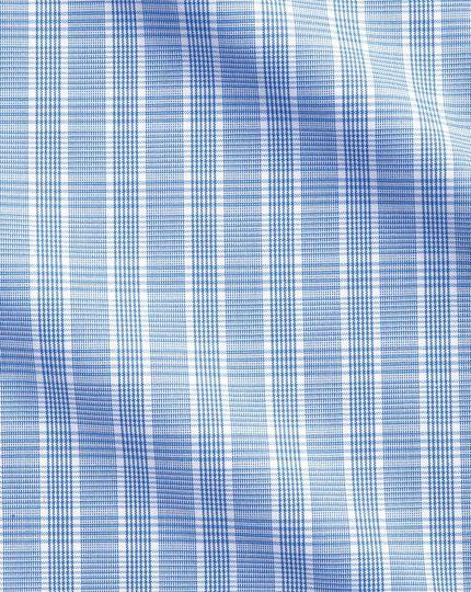 Bügelfreies Extra Slim Fit Business-Casual Hemd mit Button-down Kragen in Hellblau mit Prince-of-Wales-Karos