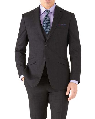 Charcoal slim fit hairline business suit