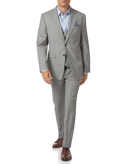 Light grey slim fit twill business suit jacket