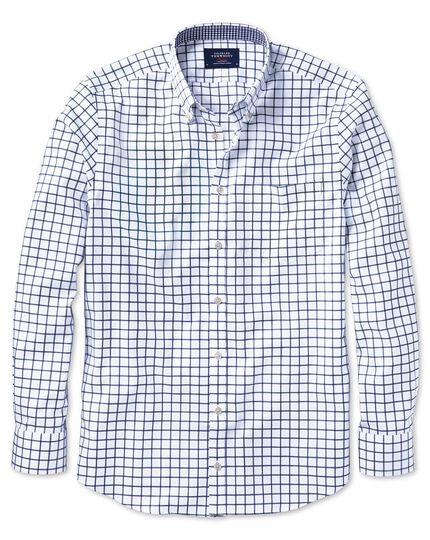 Slim fit button-down non-iron Oxford navy windowpane check shirt