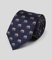 Elephant Silk Motif Classic Tie - Navy