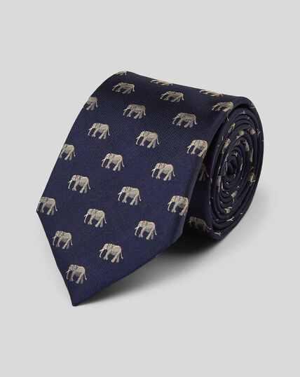 Elephant Silk Motif Classic Tie - Navy & Grey