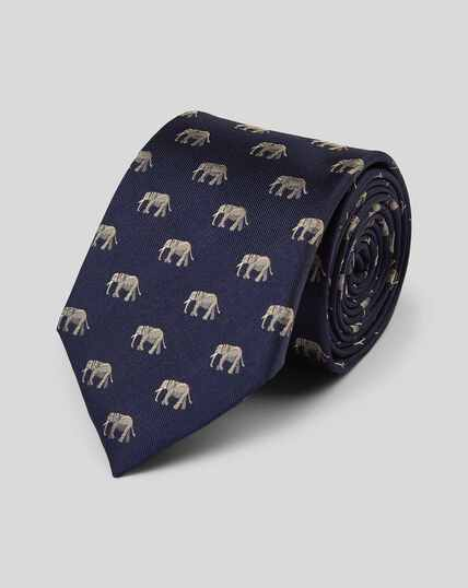 Elephant Silk Motif Tie - Navy