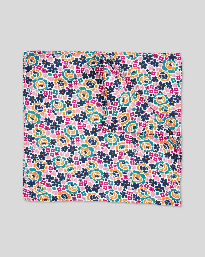 Floral Print Pocket Square - Multi