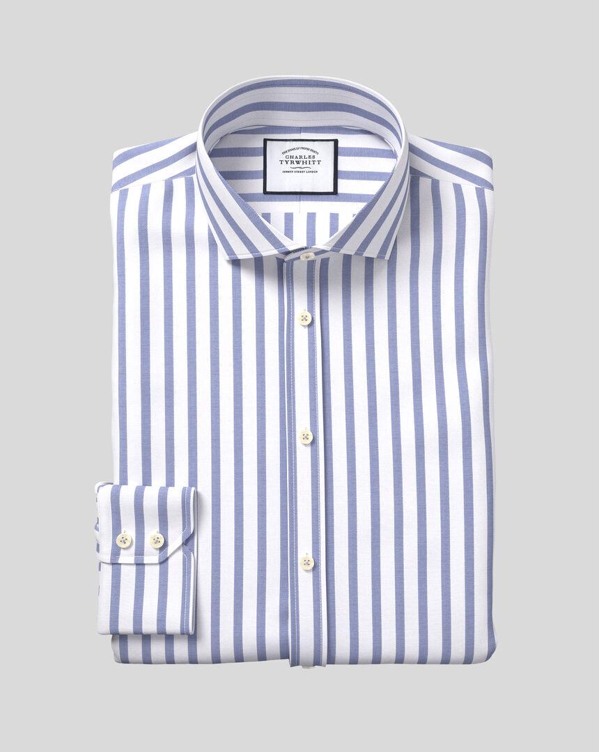 Hemd aus Stretch-Baumwolle mit TENCEL™, Haifischkragen und Streifen - Königsblau