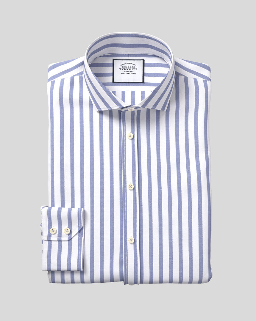 Spread Collar Cotton Stretch with TENCEL™ Stripe Shirt - Royal Blue