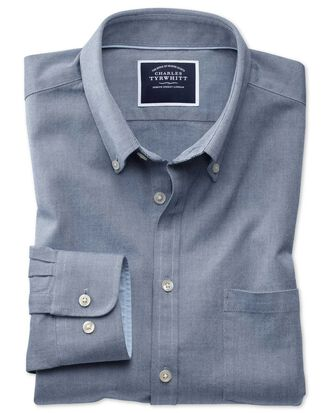 Classic fit button-down washed Oxford plain denim blue shirt