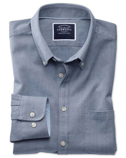 Slim fit button-down washed Oxford plain denim blue shirt