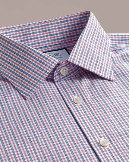 Non-Iron Poplin Shirt - Blue And Red