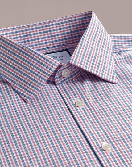 Bügelfreies Popeline-Hemd - Blau und Rot