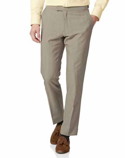 Natural Panama slim fit British suit trousers
