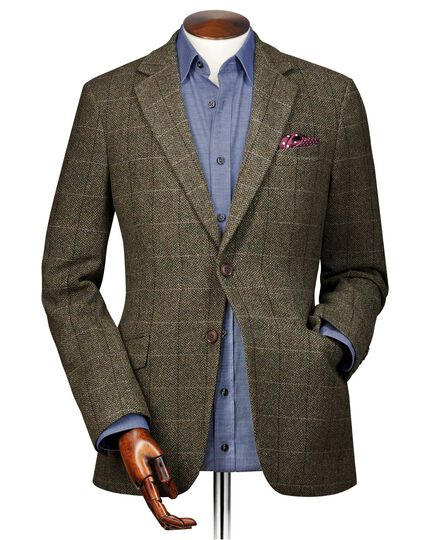 Slim fit green herringbone check wool jacket
