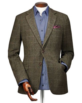 Classic fit green herringbone check wool jacket