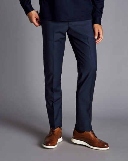 Wool Blend Stretch Check Pants - Navy