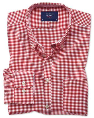 Classic fit button-down non-iron Oxford gingham red shirt
