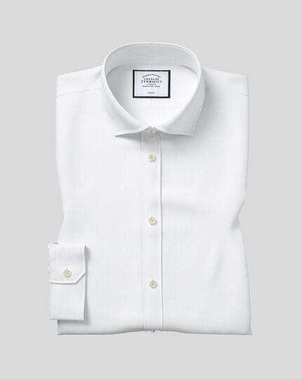 Bügelfreies Twill Hemd mit Haifischkragen - Weiß