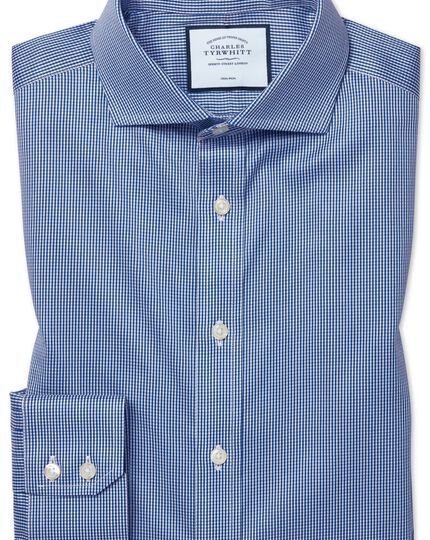 Slim fit non-iron cutaway royal blue puppytooth shirt