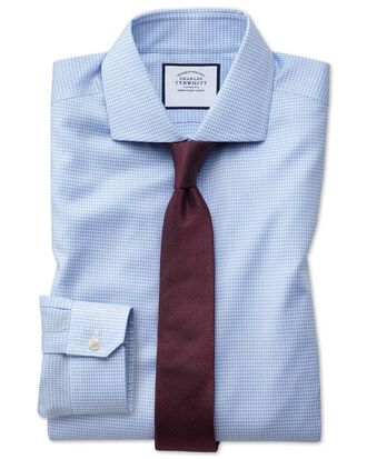 Super slim fit non-iron spread collar sky blue puppytooth Oxford stretch shirt
