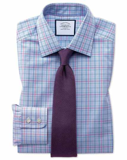 Classic fit blue and pink Prince of Wales check shirt