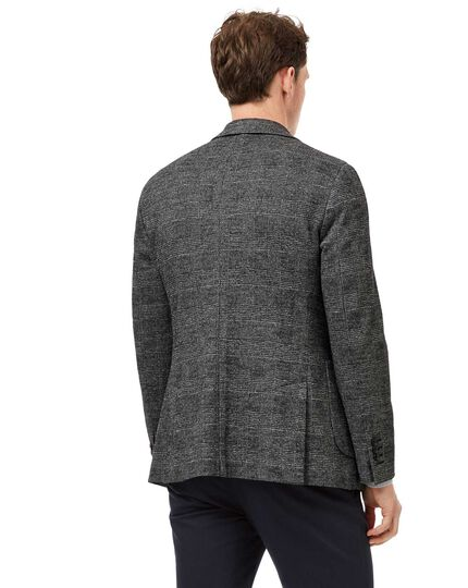 Slim fit black and white Prince of Wales check stretch unlined jacket