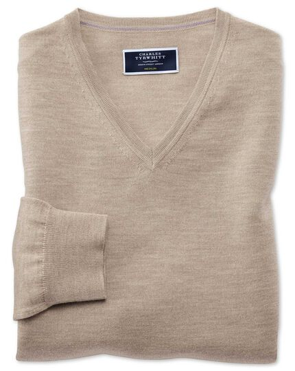 Stone merino v-neck sweater