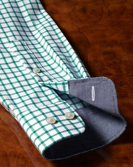 Slim fit non-iron Oxford white and green grid check shirt