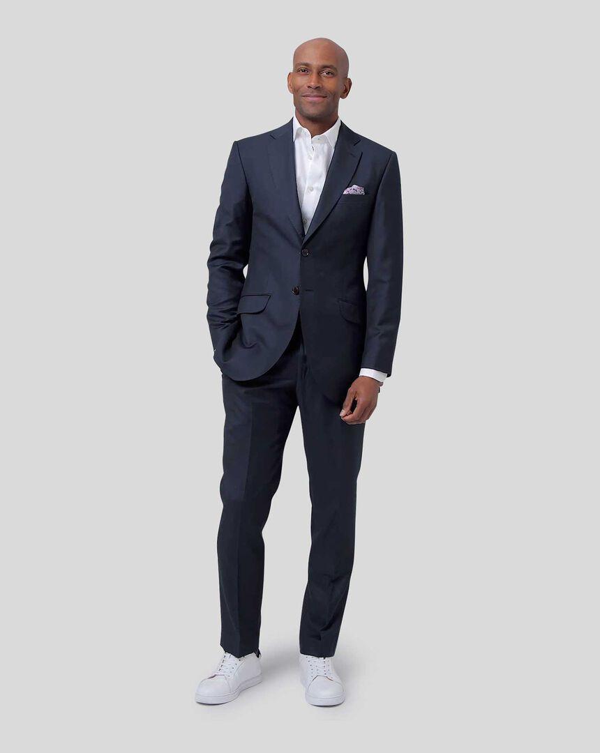 Italian Luxury Twill Suit - Navy