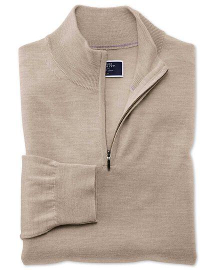 Stone merino zip neck jumper