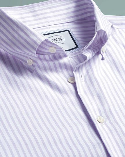Slim fit business casual non-iron lilac stripe shirt with TENCEL™