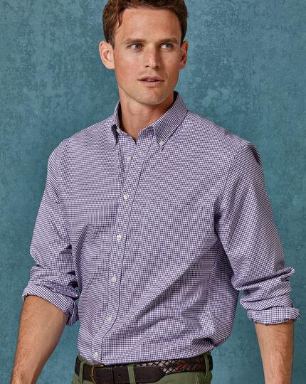 Vorgewaschenes bügelfreies Slim Fit Hemd mit Stretch und Gingham-Karos in Violett