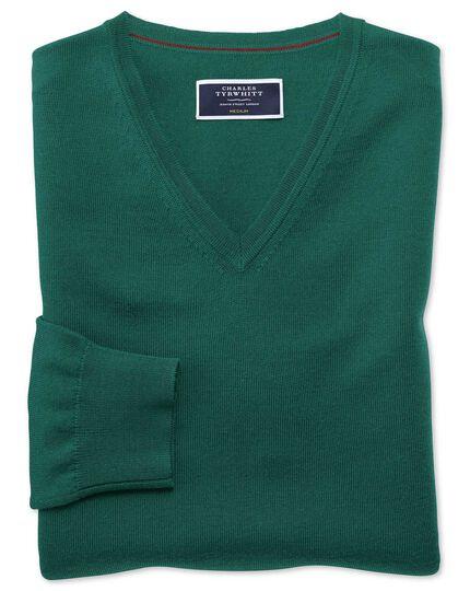 Dark green merino v-neck sweater