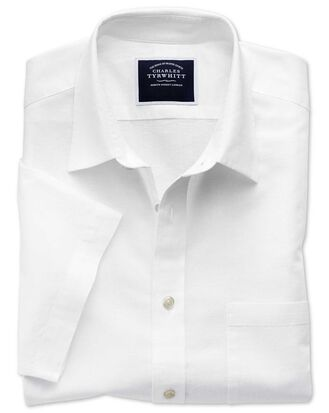 Classic fit white cotton linen short sleeve shirt