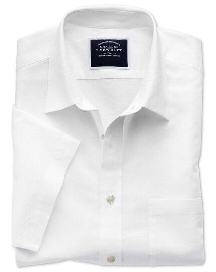 Classic fit cotton linen short sleeve white plain shirt