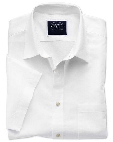 Slim fit white cotton linen short sleeve shirt