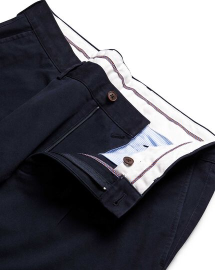 Navy single pleat non-iron chinos