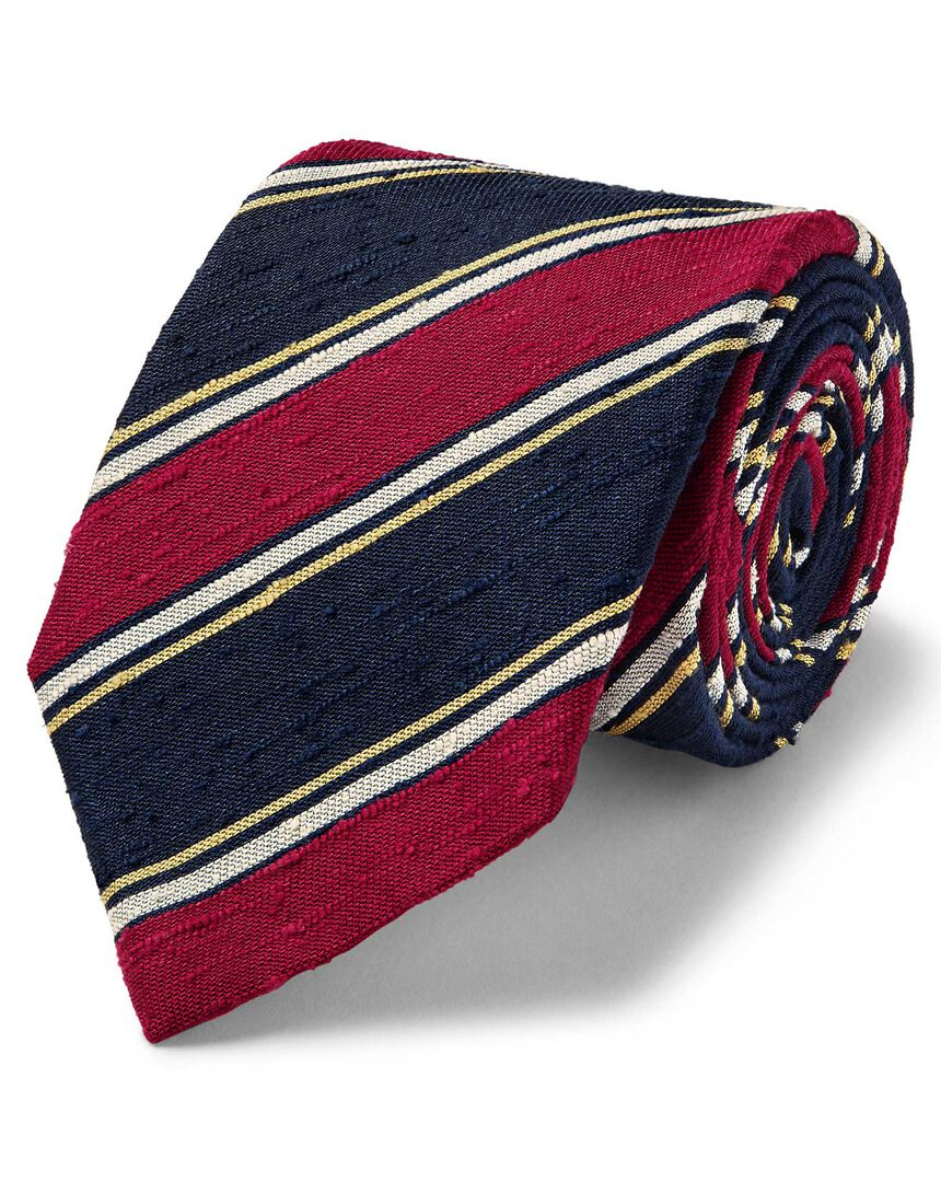 Red and navy silk slub stripe English luxury tie