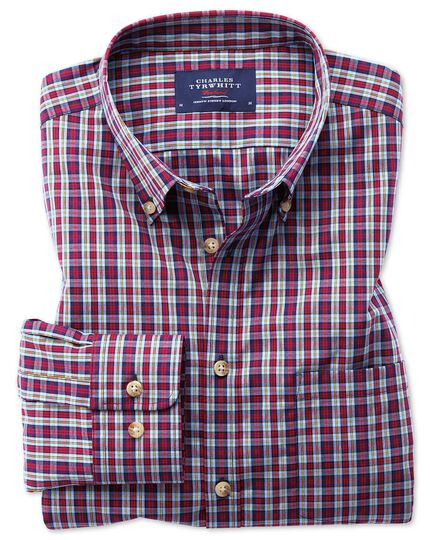 Slim fit button-down non-iron poplin blue and red check shirt