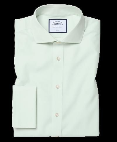 Bügelfreies Slim Fit Popeline-Hemd mit Haifischkragen in Grün