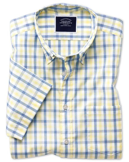 Classic fit yellow and blue short sleeve gingham soft washed non-iron Tyrwhitt Cool shirt