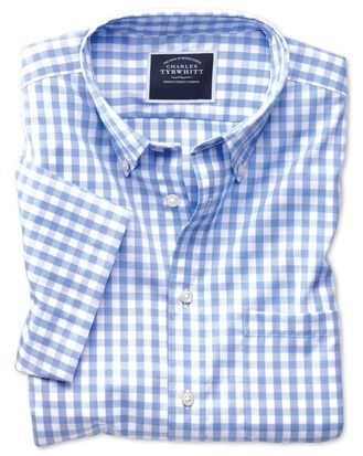 Slim fit button-down non-iron poplin short sleeve sky blue gingham shirt