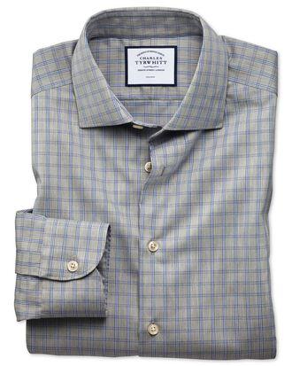 Chemise business casual grise à grands carreaux slim fit sans repassage