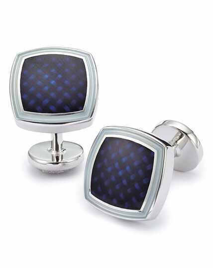 Navy enamel basketweave square cufflinks