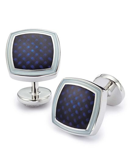 Navy enamel basketweave square cufflinks