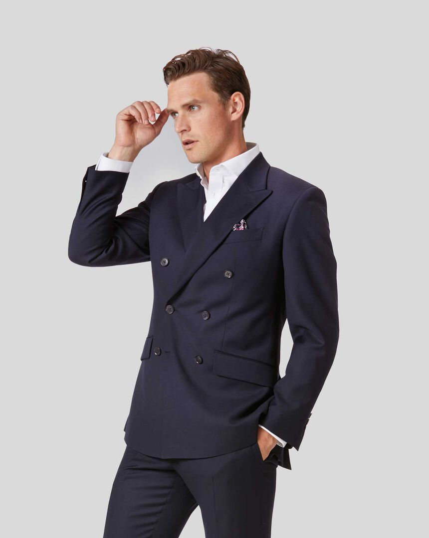 Twill Business Double Breasted Suit Jacket - Navy