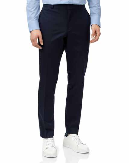 Navy slim fit Italian cotton suit trousers