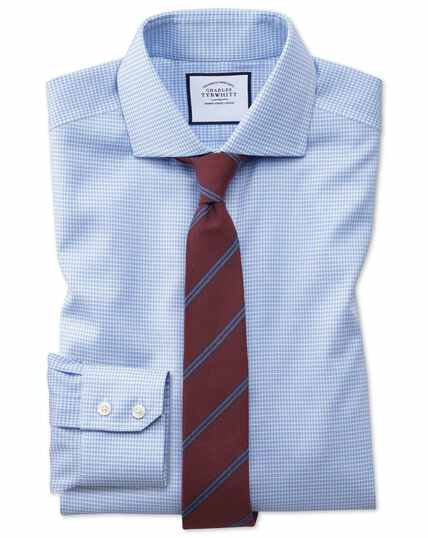 Extra slim fit non-iron sky blue puppytooth Oxford stretch shirt