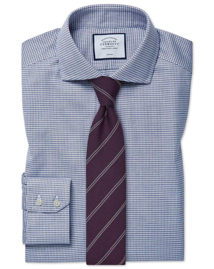 Slim fit cutaway collar non-iron cotton stretch navy shirt