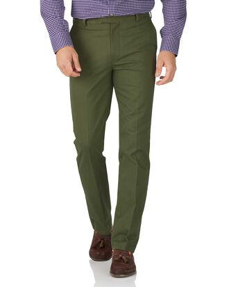 Green slim fit flat front non-iron chinos