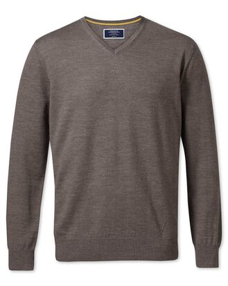 Mocha merino wool v-neck sweater