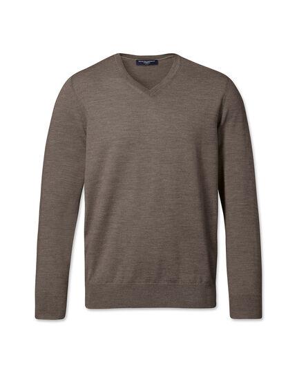 Mocha merino wool v-neck jumper
